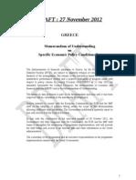 GREECE Memorandum of Understanding on Specific Economic Policy Conditionality