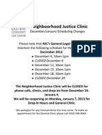 EBCLC Neighborhood Justice Clinic Schedule for December 2012