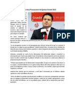 26-11-2012 Aristóteles Sandoval critica Presupuesto de Egresos Estatal 2013