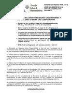 Comunicado Conjunto COFETEL INEGI Nov 29 2012