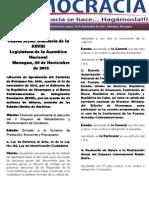 Barómetro Legislativo Diario del jueves, 29 de noviembre de 2012