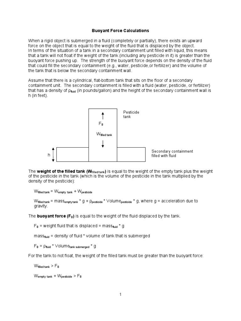 Buoyant Force Calc   Buoyancy   Gallon