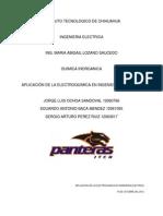 APLICACIÓN DE LA ELECTROQUIMICA EN INGENIERIA ELECTRICA