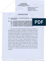 CVC Guidelines on timely completion of Disciplinary proceedings.