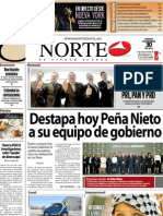 Periodico Norte de Ciudad Juárez 30 de Noviembre de 2012