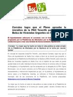 MOción y NOTA DE PRENSA acuerdo PLENO desahucios