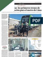 Llegan al Callao los primeros trenes de última generación para el metro de Lima