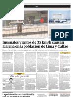 Inusuales vientos de 35 km/h causan alarma en la población de Lima y Callao