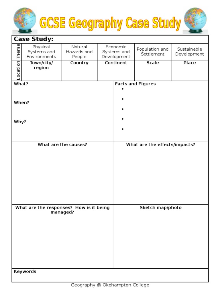 Case Study Template For GCSE  Case Study Template For GCSE