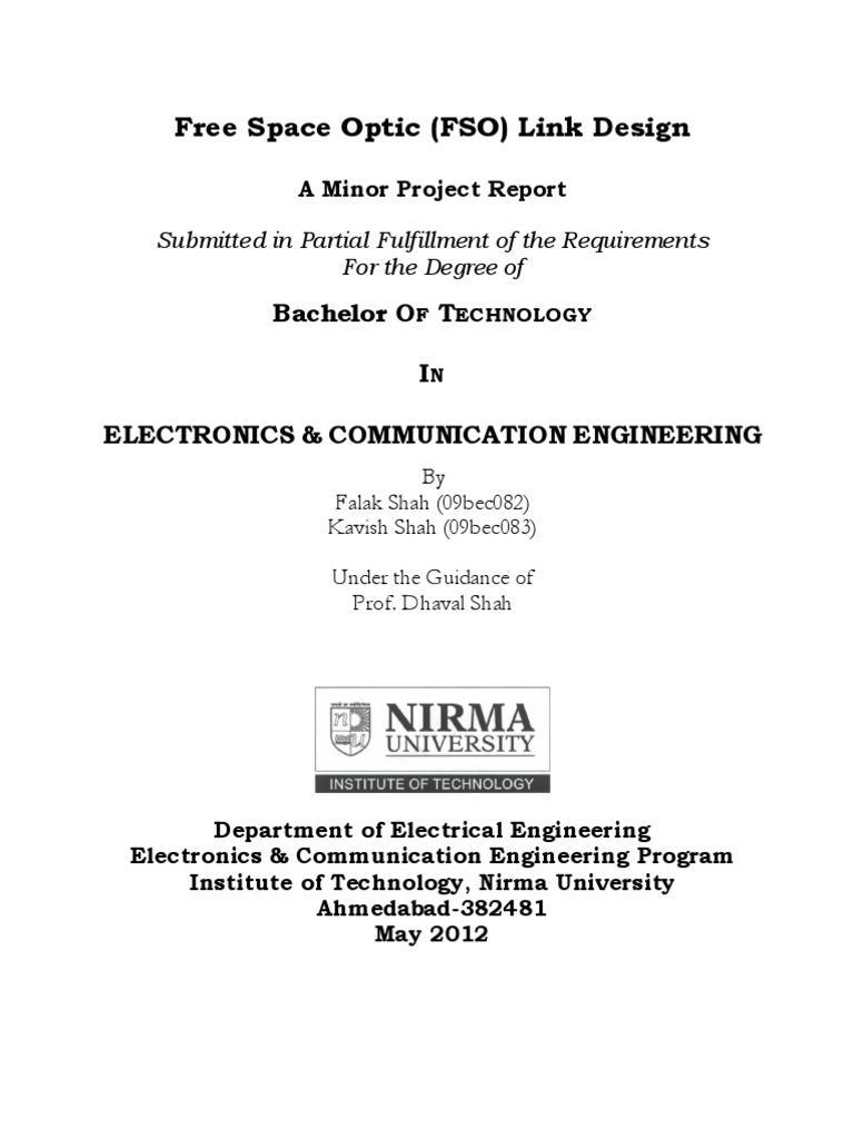 Final Report Of Fso Light Emitting Diode Laser Rs232 Transceiver