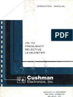 Cushman Electronics CE-70 Frequency Selective Levelmeter ~ Operation Manual, 07-1976.