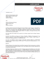 Axis Bank Letter to MACL, Maldives Govt