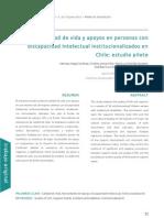 Calidad de vida y apoyos en personas con discapacidad Intelectual institucionalizados en Chile