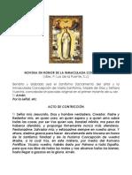 Novena en honor de la Inmaculada Concepción