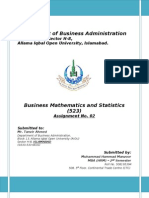 Assignment 2nd_523_Business Mathematics and Statistics