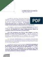 communiqué de presse CDCI 29 nov 2012
