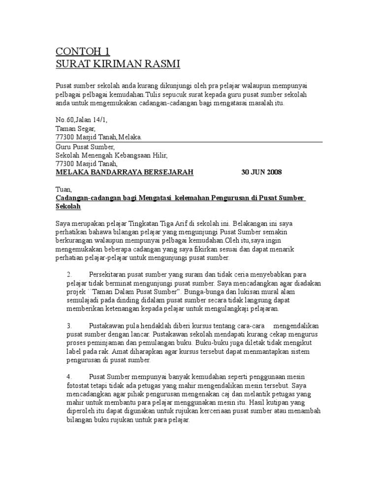Contoh Karangan Surat Kiriman Rasmi