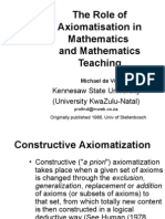 Role of Axiomatization in Math & Math Ed