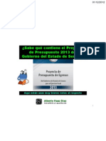 ¿Qué contiene el proyecto de Presupuesto de Egresos 2013 de Sonora?