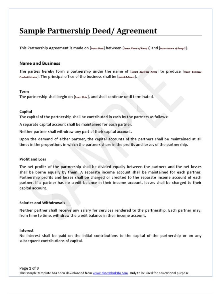 Partnership Deed   Partnership   Income Statement