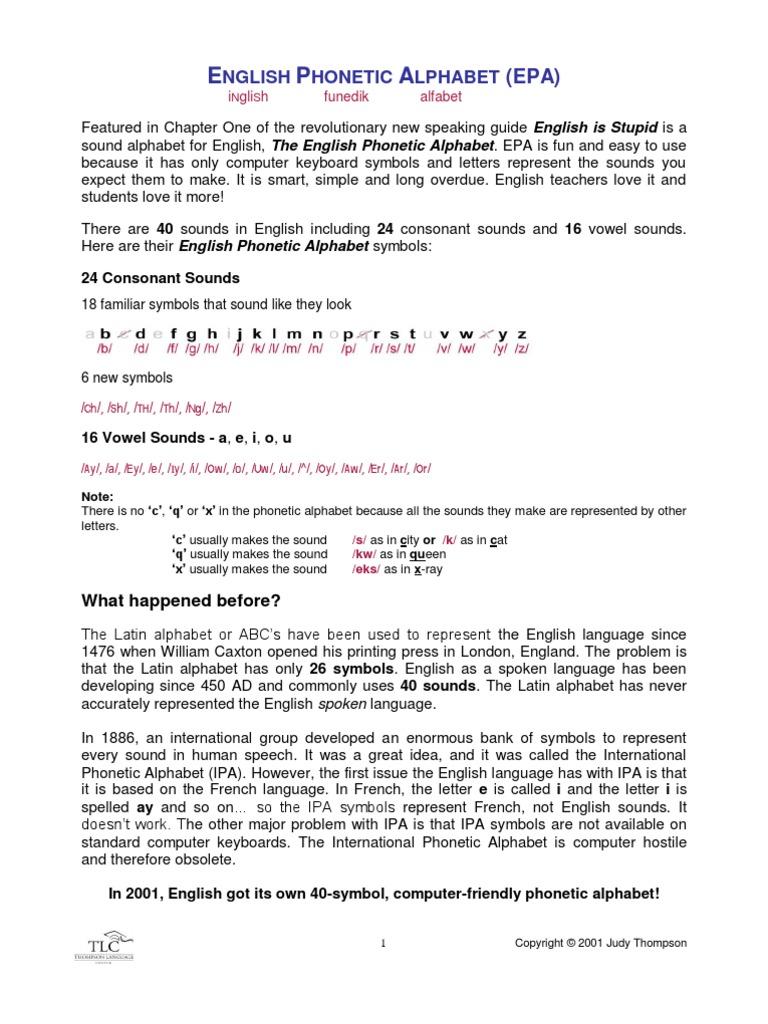 Englishphoneticalphabetarticlepdf Alphabet Consonant