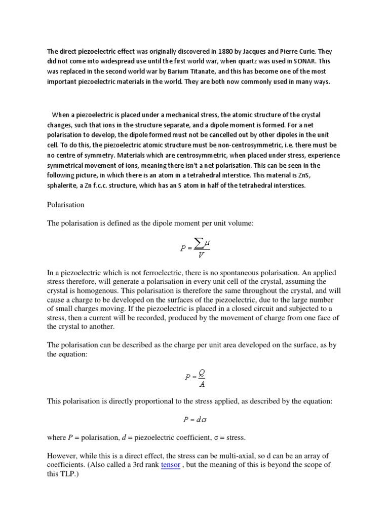 Piezoelectric | Piezoelectricidad | Ferroelectricidad