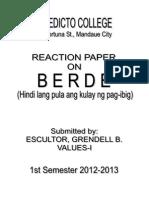Grendell-reaction Values 1