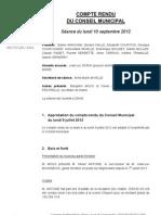 Mignovillard - Compte rendu du Conseil municipal du 10 septembre 2012