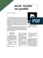 Comment Etablir Plan Qualite