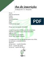Ficha de Inscrição avaliações Guaçuano