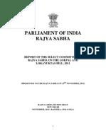 Report of Rajya sabha select committee on Lokpal Bill