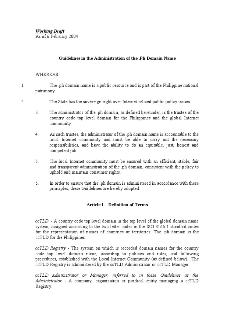 ntc draft (as of feb 6, 2004): guidelines in the administration of