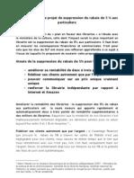 Fiche SLF sur le projet de suppression du rabais de 5% - réunion assoc libraires 3 décembre 2012