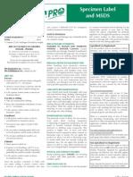GreenCleanPRO Specimen Labels