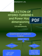 Selection of Turbines and Power House Dimesioning