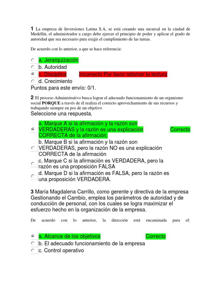 Lección evaluativa 2 Fundamentos de Administracion