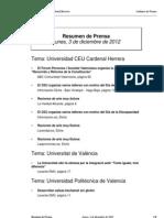 Resumen Prensa 03-12-2012