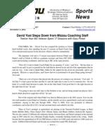 Yost Resigns, University Press Release