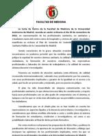 Manifiesto Junta de Centro 30 de noviembre de 2012