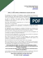 APPEL Contre La Fermeture Du Collège Jean Vilar