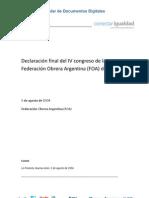 Declaración final del IV congreso de la FOA
