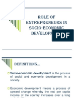 Role of Entrepreneurs in Socio-economic Development