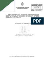 Sugerencias al Proyecto de Presupuestos Generales del Ayuntamiento de Granada