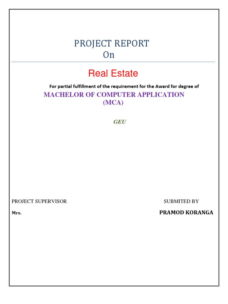 Project Report on Real Estate | Feasibility Study | Software Testing