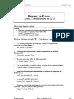Resumen prensa CEU-UCH 4-12-2012