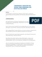 Proyecto De Ordenanza - Creación del Concejo Municipal de Discapacidad