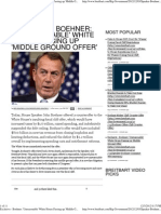Exclusive - Boehner 'Unreasonable' White House Passing Up 'Midd