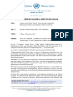 United Nations USG Visit to Myanmar Media Advisory