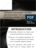 Designing management training and development for competitive advantage