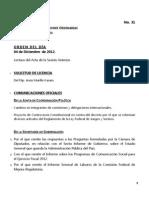 04/12/12 - Orden del día en Cámara de Diputados